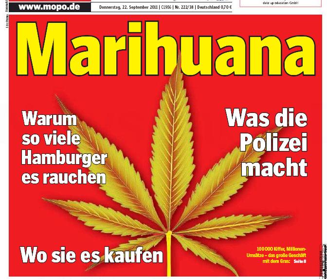 """Titel der Print-Ausgabe der Mopo vom 22.09. - """"Marihuana..."""""""